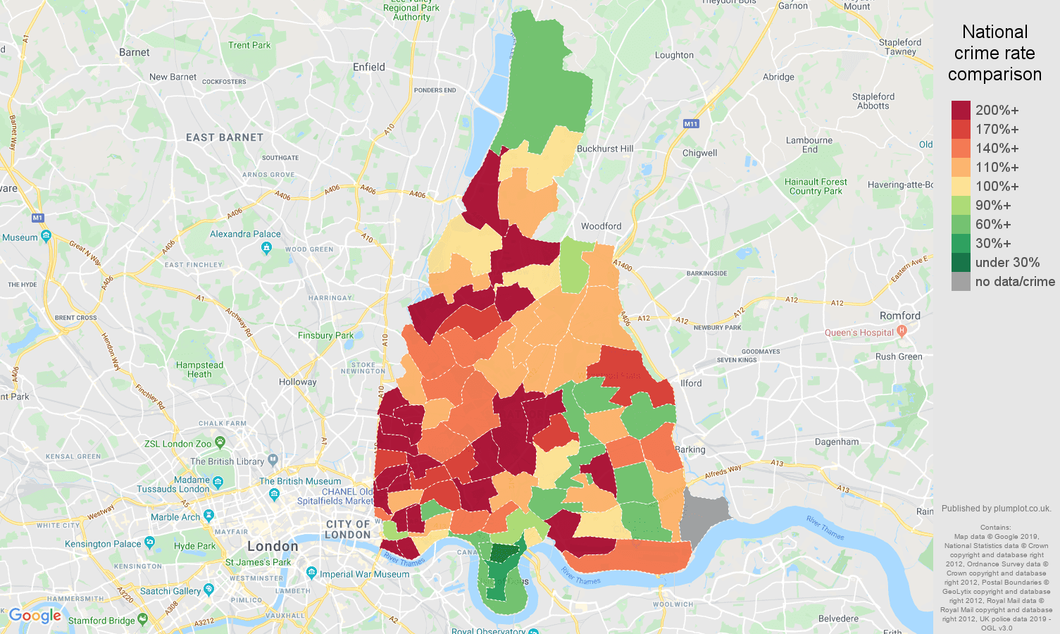 East London other theft crime rate comparison map