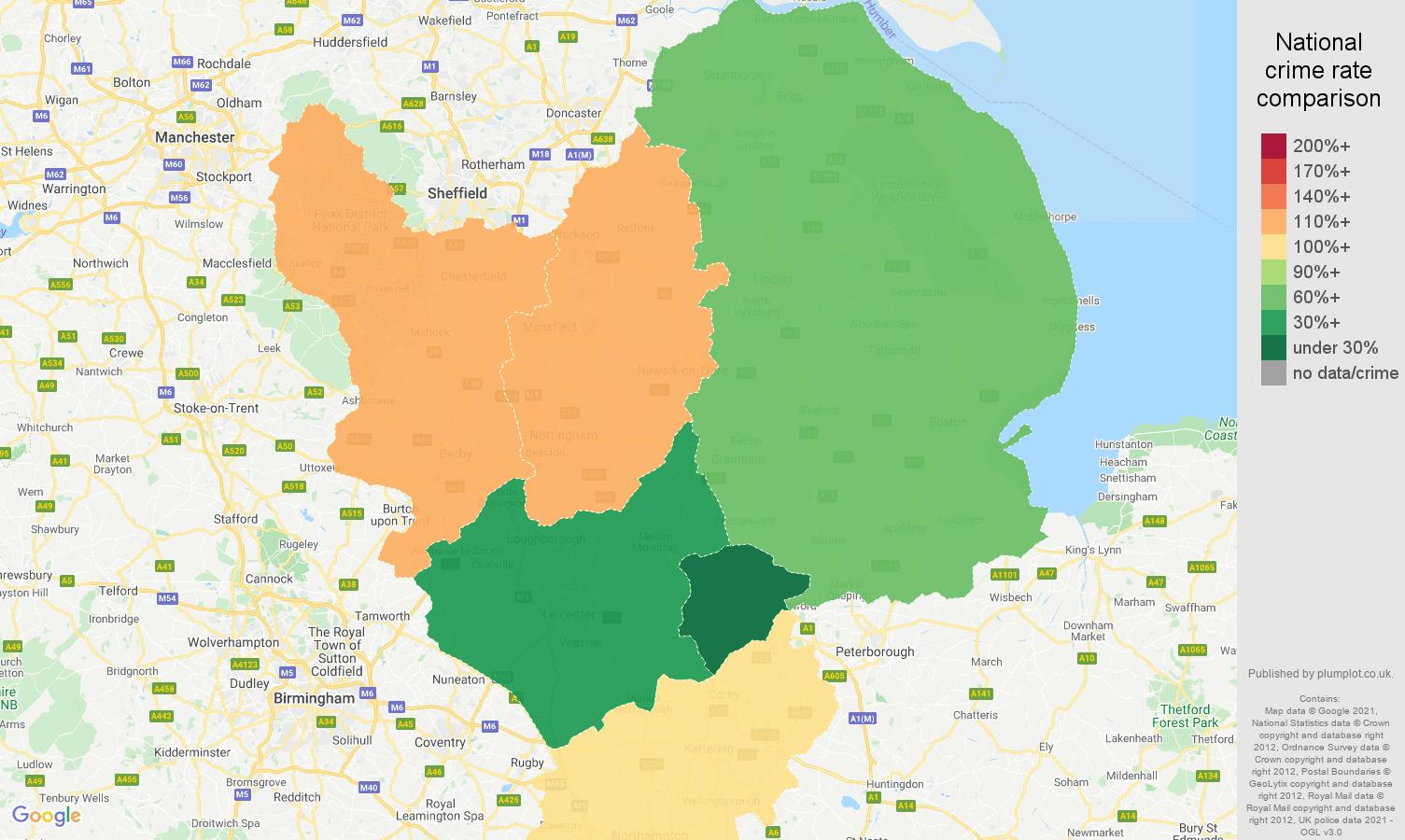 East Midlands antisocial behaviour crime rate comparison map