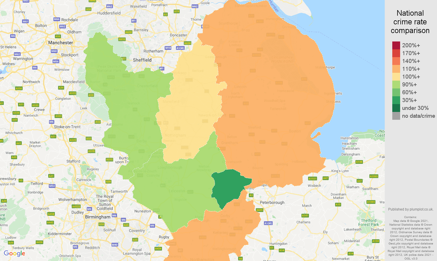 East Midlands burglary crime rate comparison map