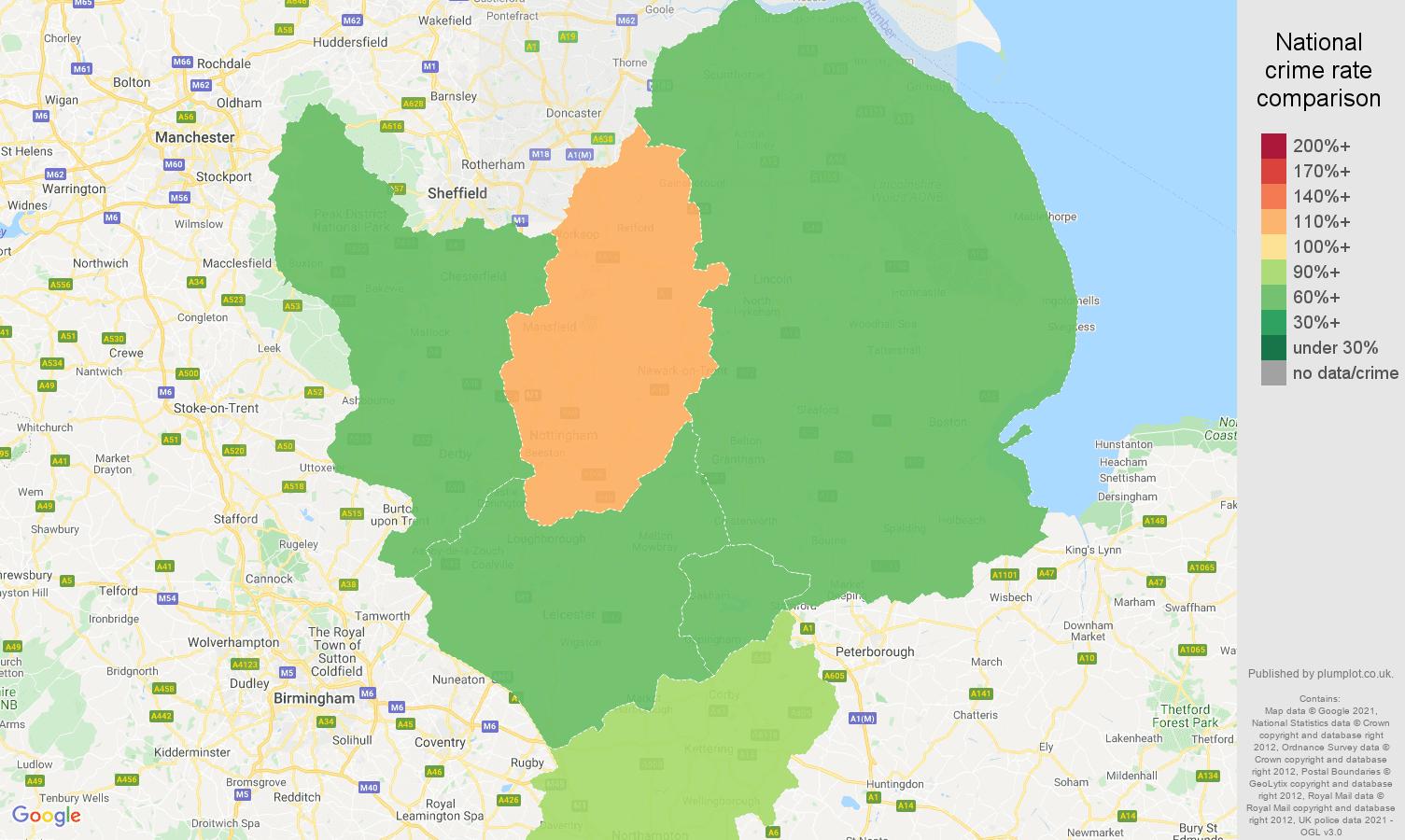 East Midlands drugs crime rate comparison map