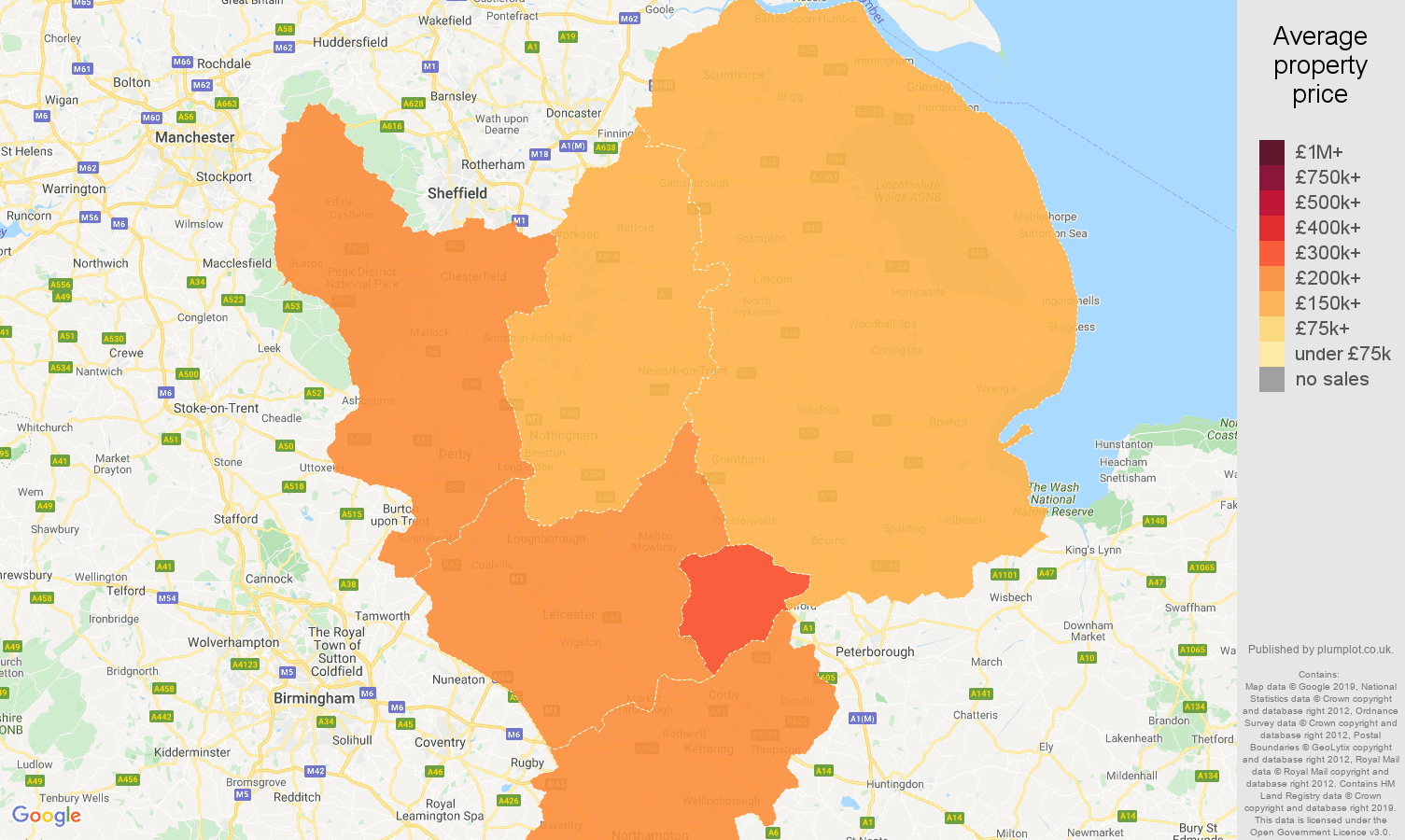 East Midlands house prices map