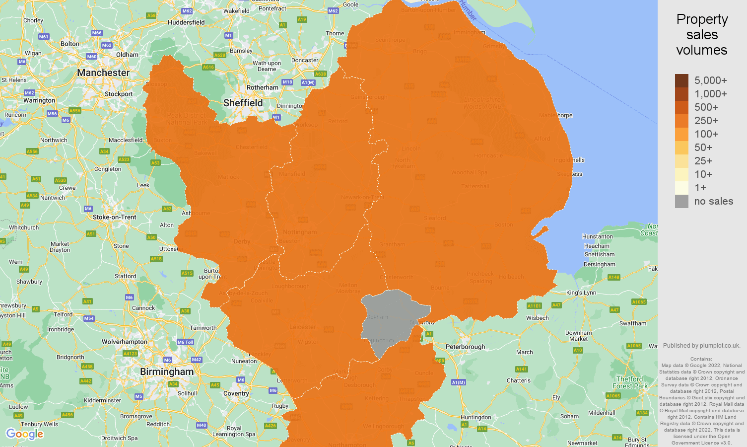 East Midlands map of sales of new properties