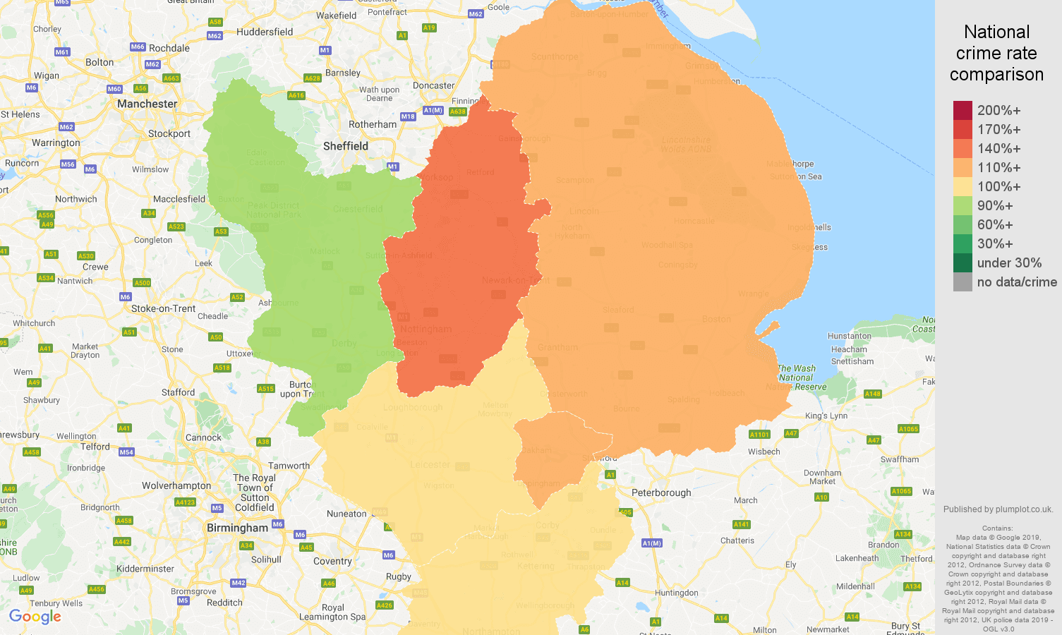 East Midlands other crime rate comparison map
