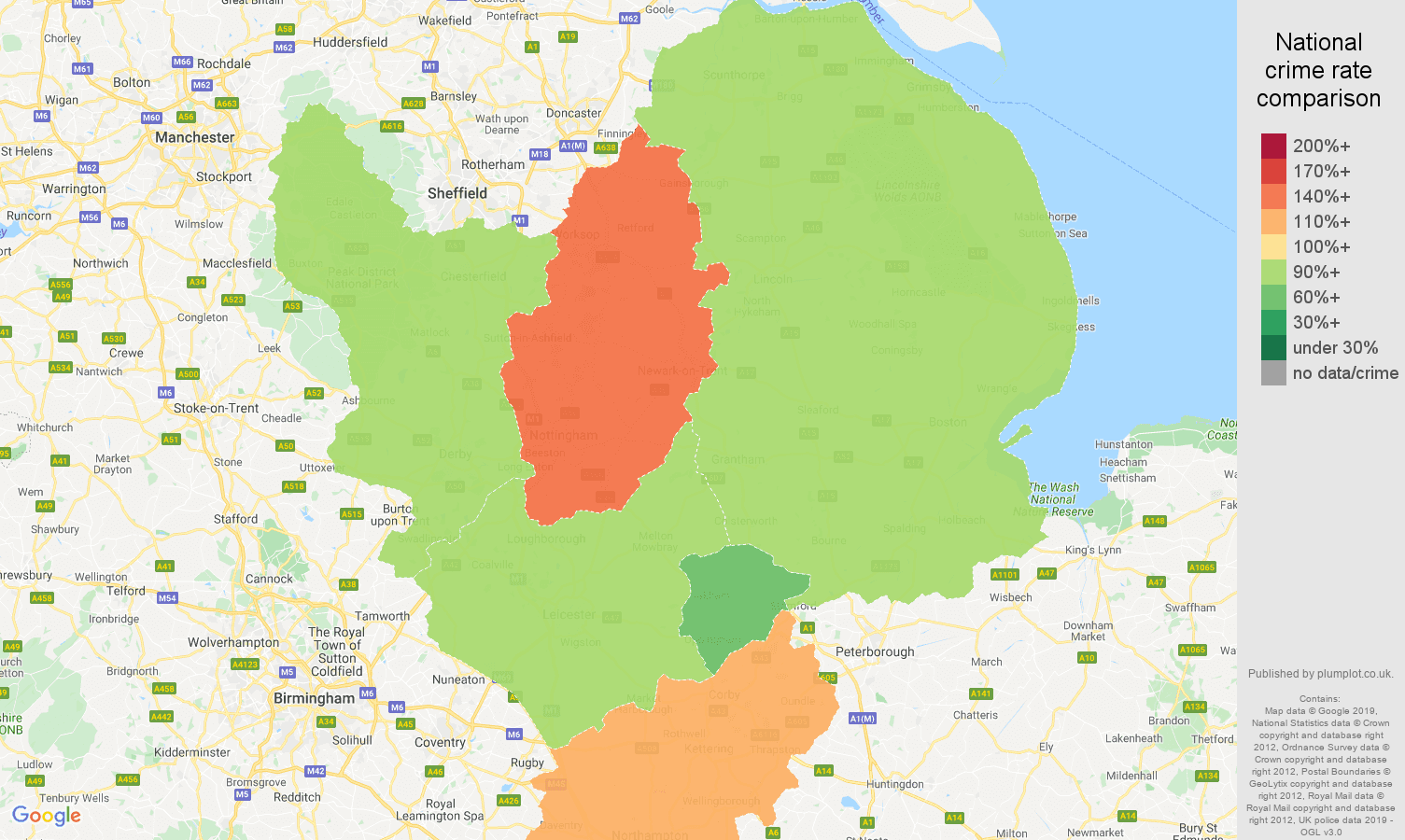 East Midlands possession of weapons crime rate comparison map