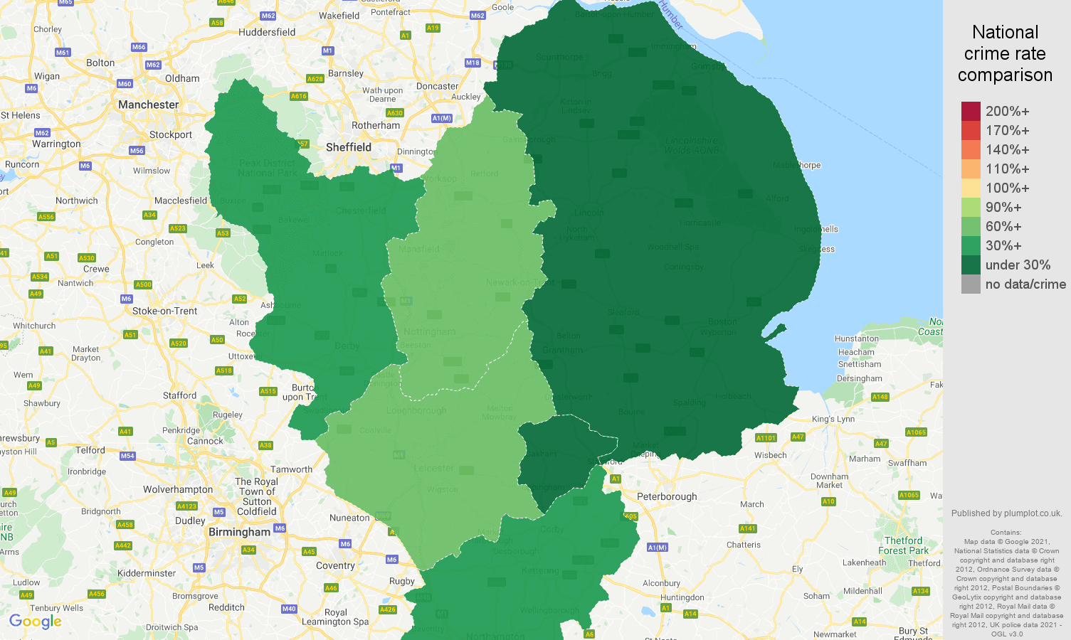 East Midlands theft from the person crime rate comparison map