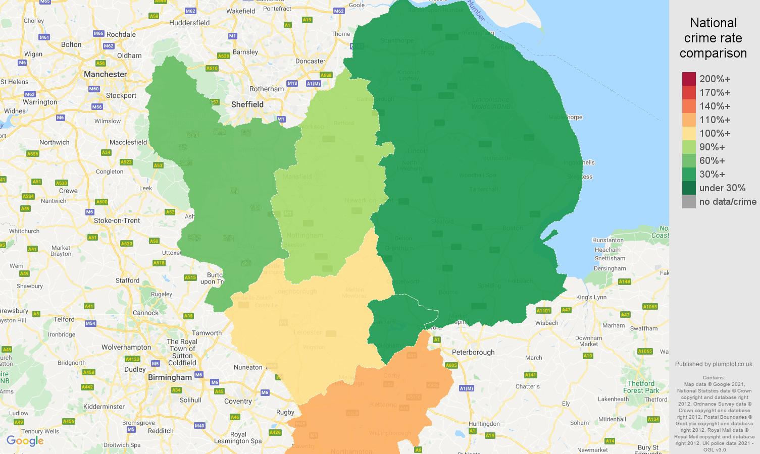 East Midlands vehicle crime rate comparison map