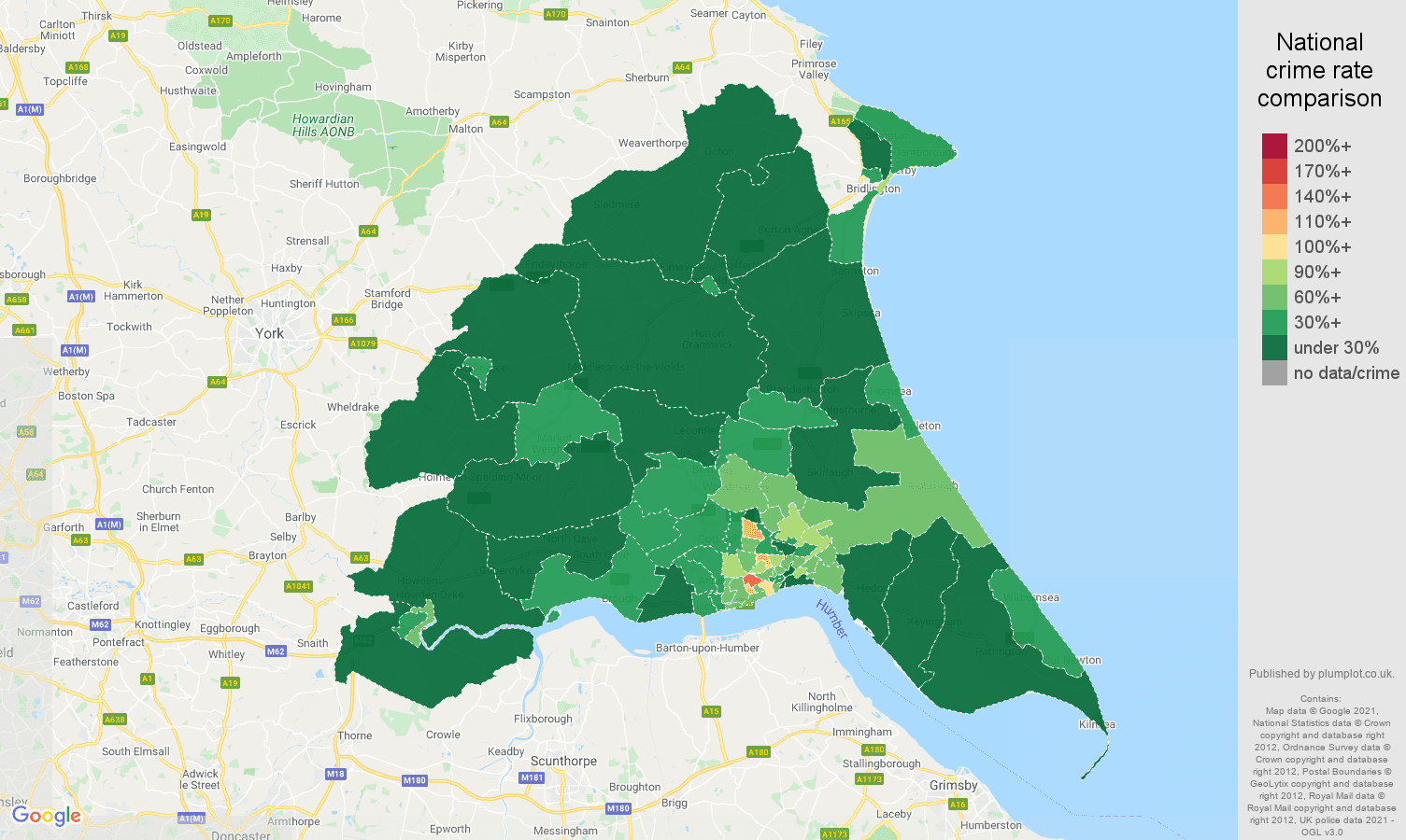 East Riding of Yorkshire antisocial behaviour crime rate comparison map