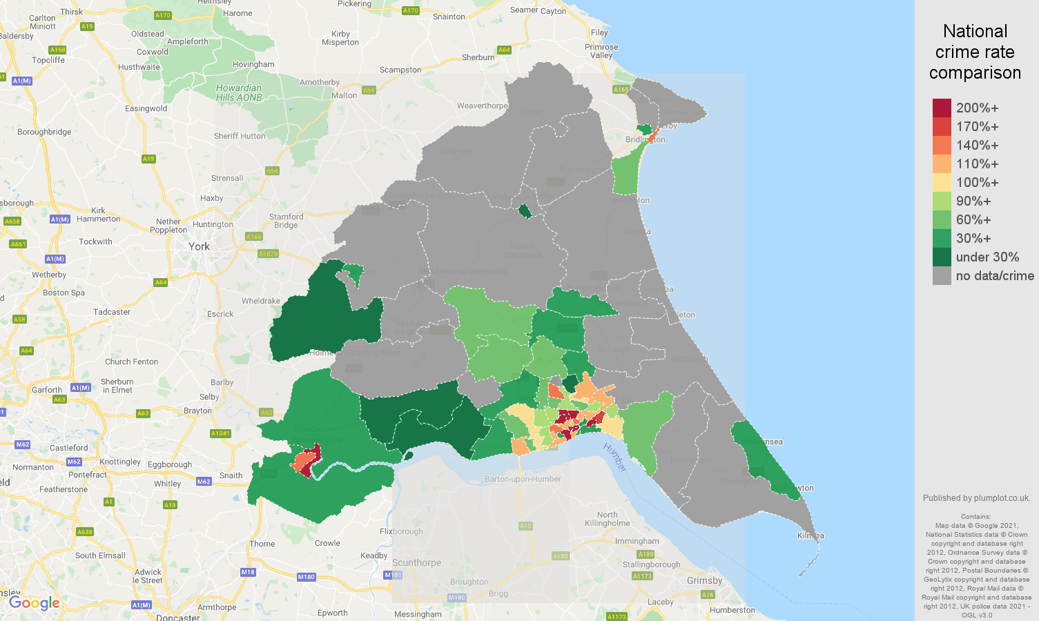 East Riding of Yorkshire bicycle theft crime rate comparison map