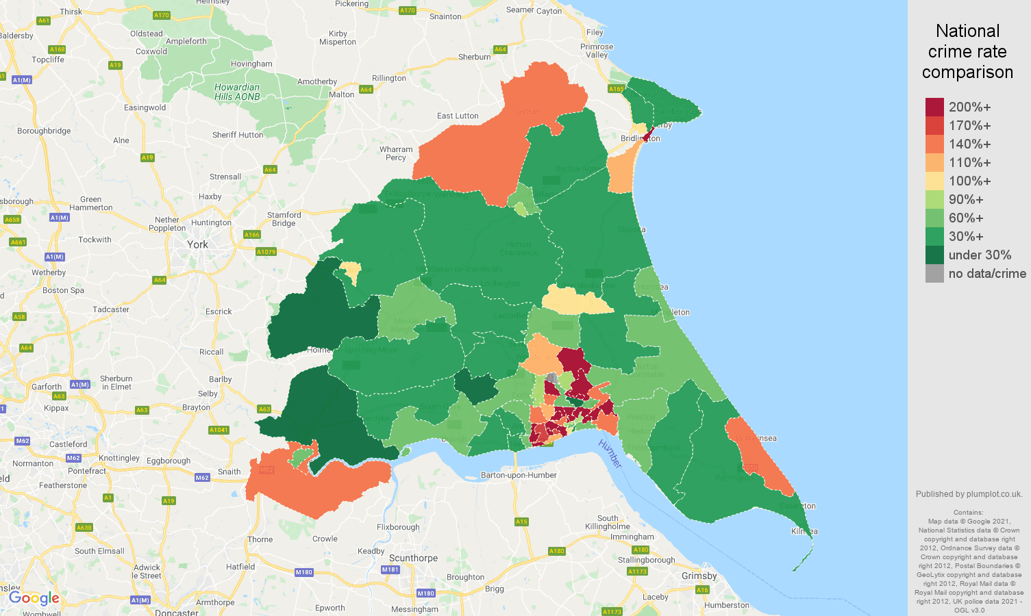 East Riding of Yorkshire criminal damage and arson crime rate comparison map