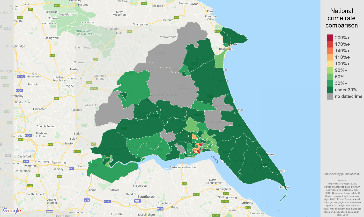 East Riding of Yorkshire drugs crime rate comparison map
