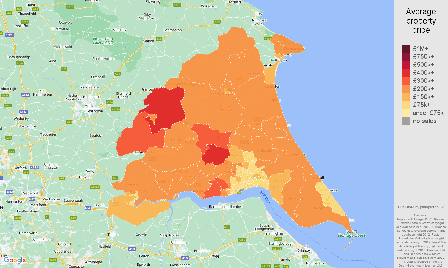 East Riding of Yorkshire house prices map