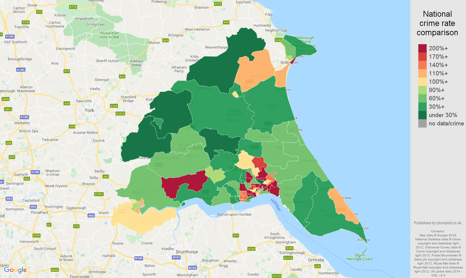 East Riding of Yorkshire other crime rate comparison map