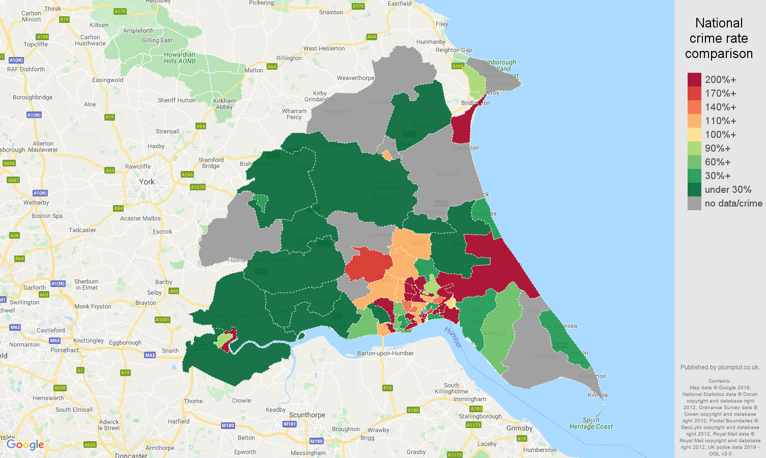 East Riding of Yorkshire shoplifting crime rate comparison map