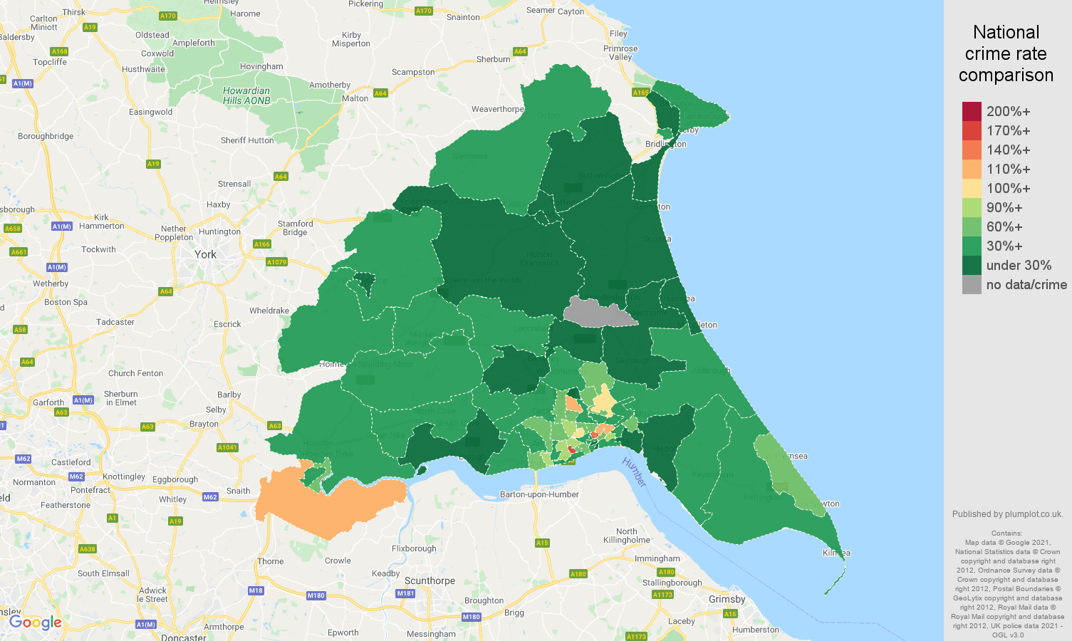 East Riding of Yorkshire vehicle crime rate comparison map