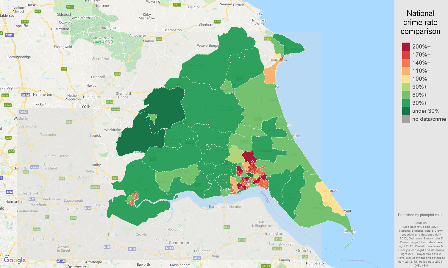 East Riding of Yorkshire violent crime rate comparison map