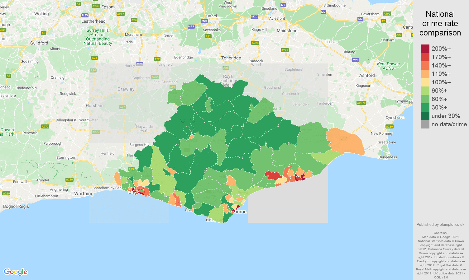 East Sussex antisocial behaviour crime rate comparison map