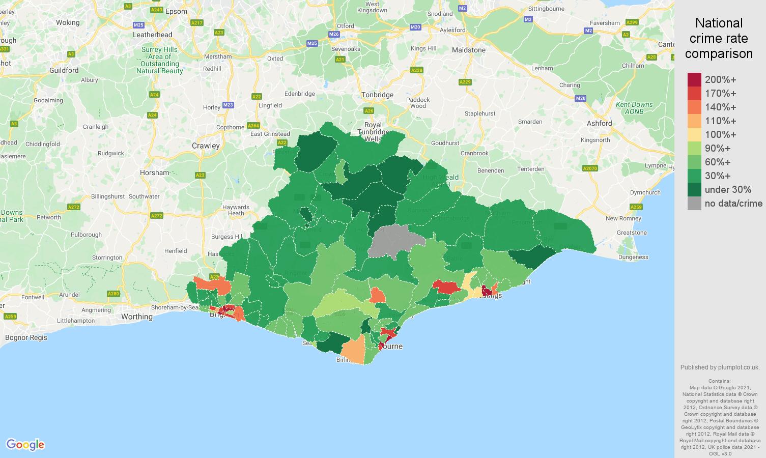 East Sussex drugs crime rate comparison map
