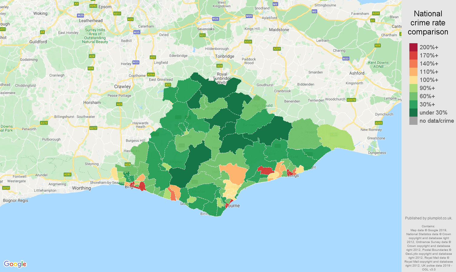 East Sussex public order crime rate comparison map