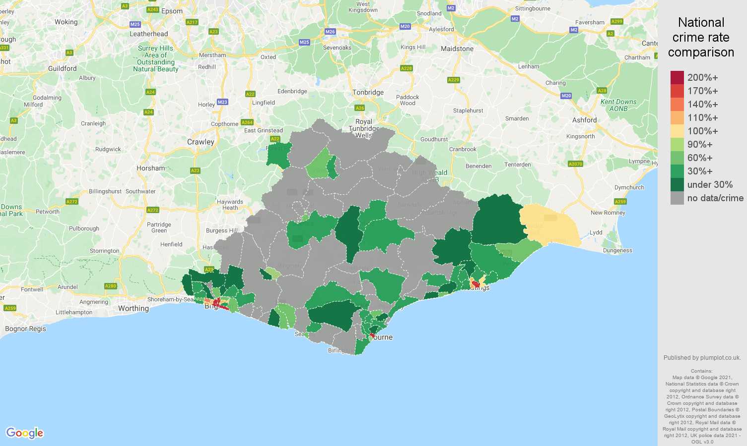 East Sussex theft from the person crime rate comparison map