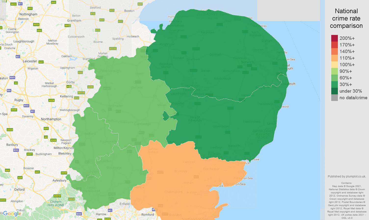 East of England antisocial behaviour crime rate comparison map