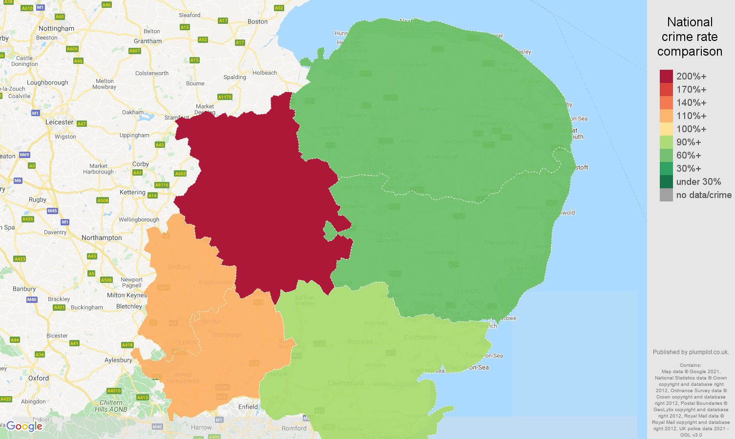 East of England bicycle theft crime rate comparison map