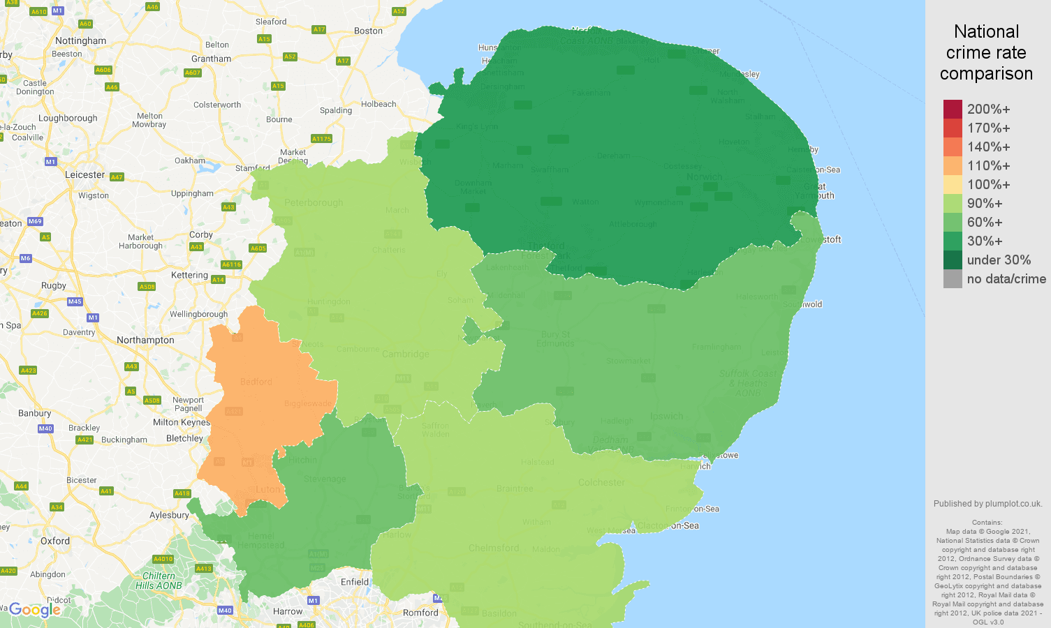 East of England burglary crime rate comparison map
