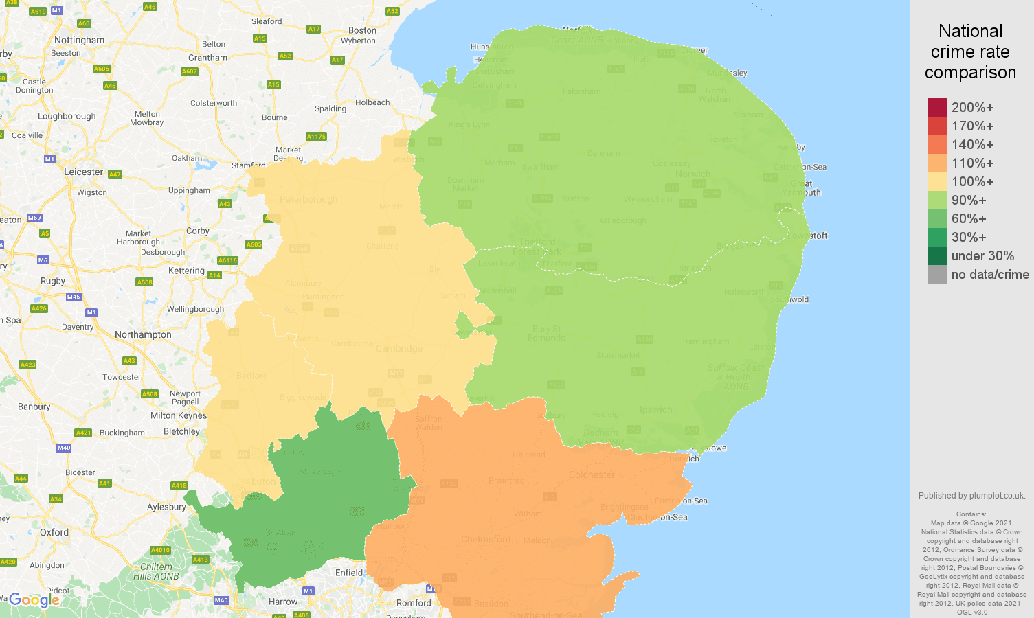 East of England criminal damage and arson crime rate comparison map
