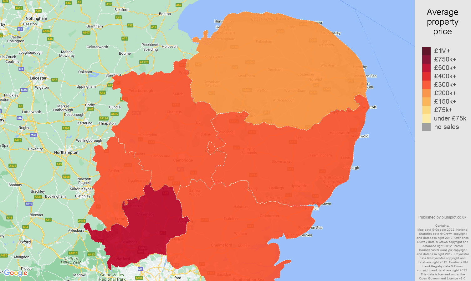 East of England house prices map