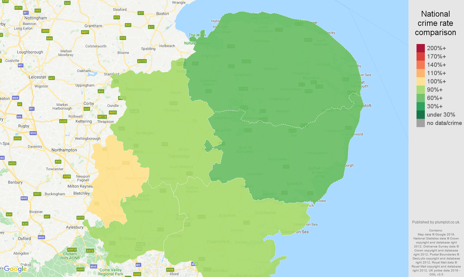 East of England other theft crime rate comparison map