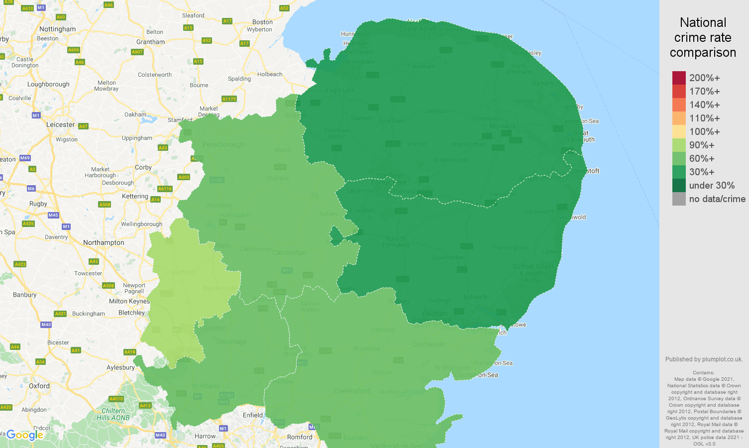 East of England robbery crime rate comparison map