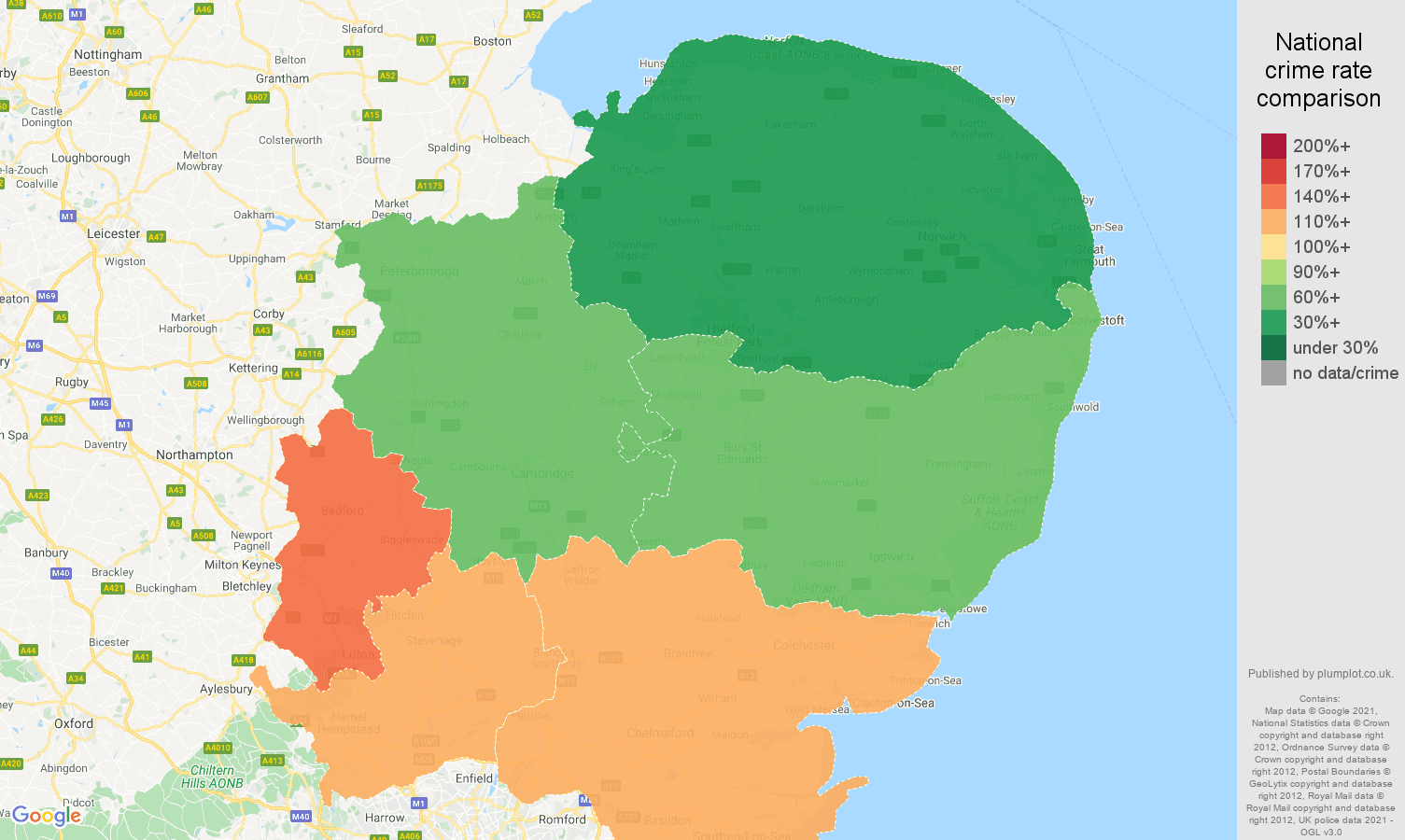 East of England vehicle crime rate comparison map