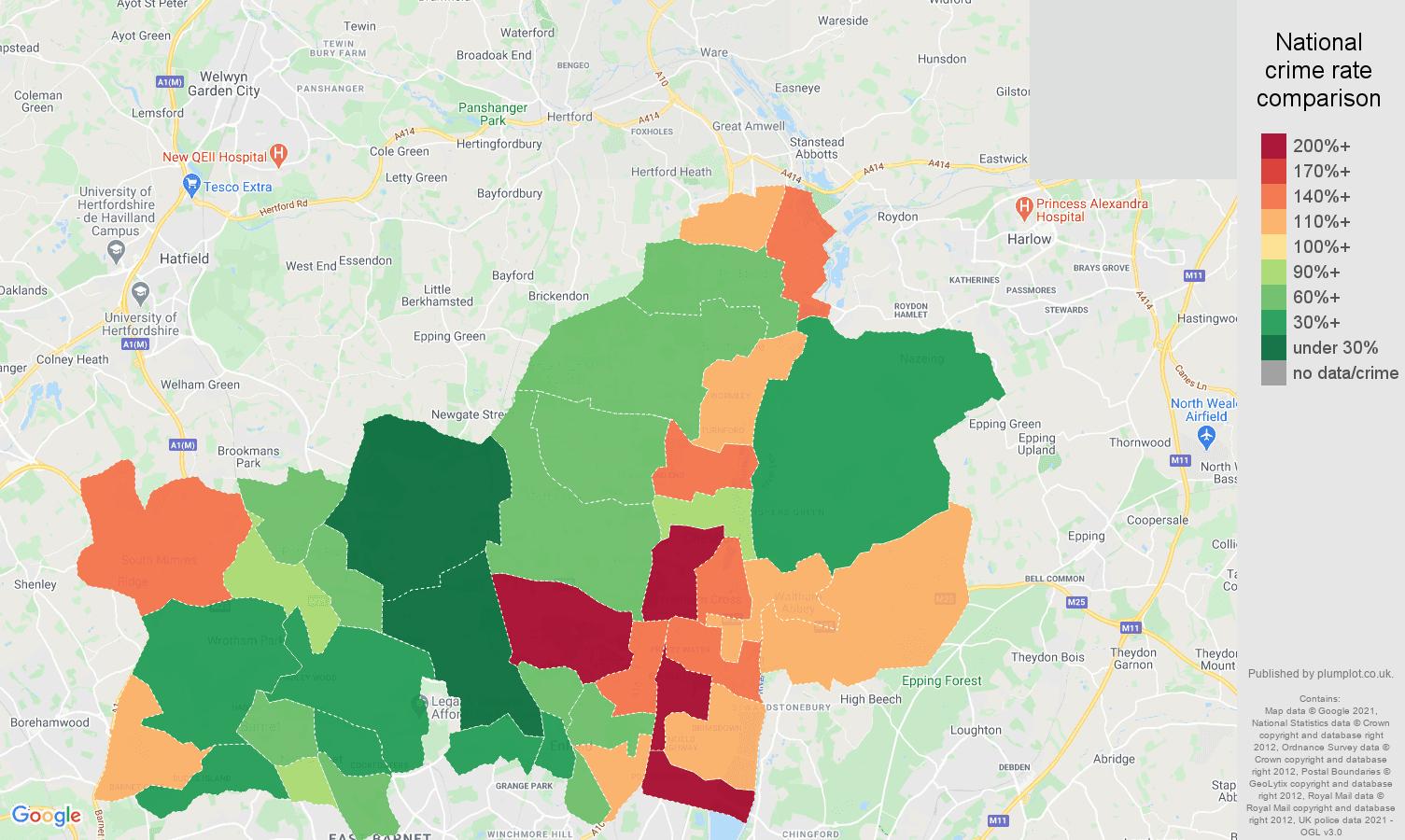 Enfield drugs crime rate comparison map