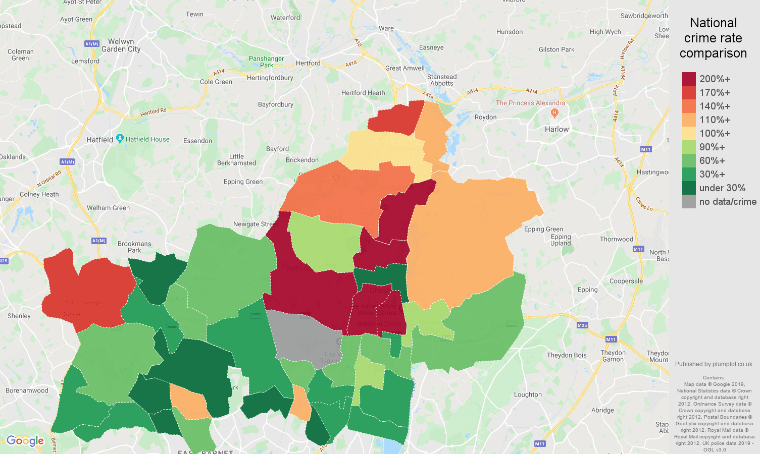 Enfield other crime rate comparison map