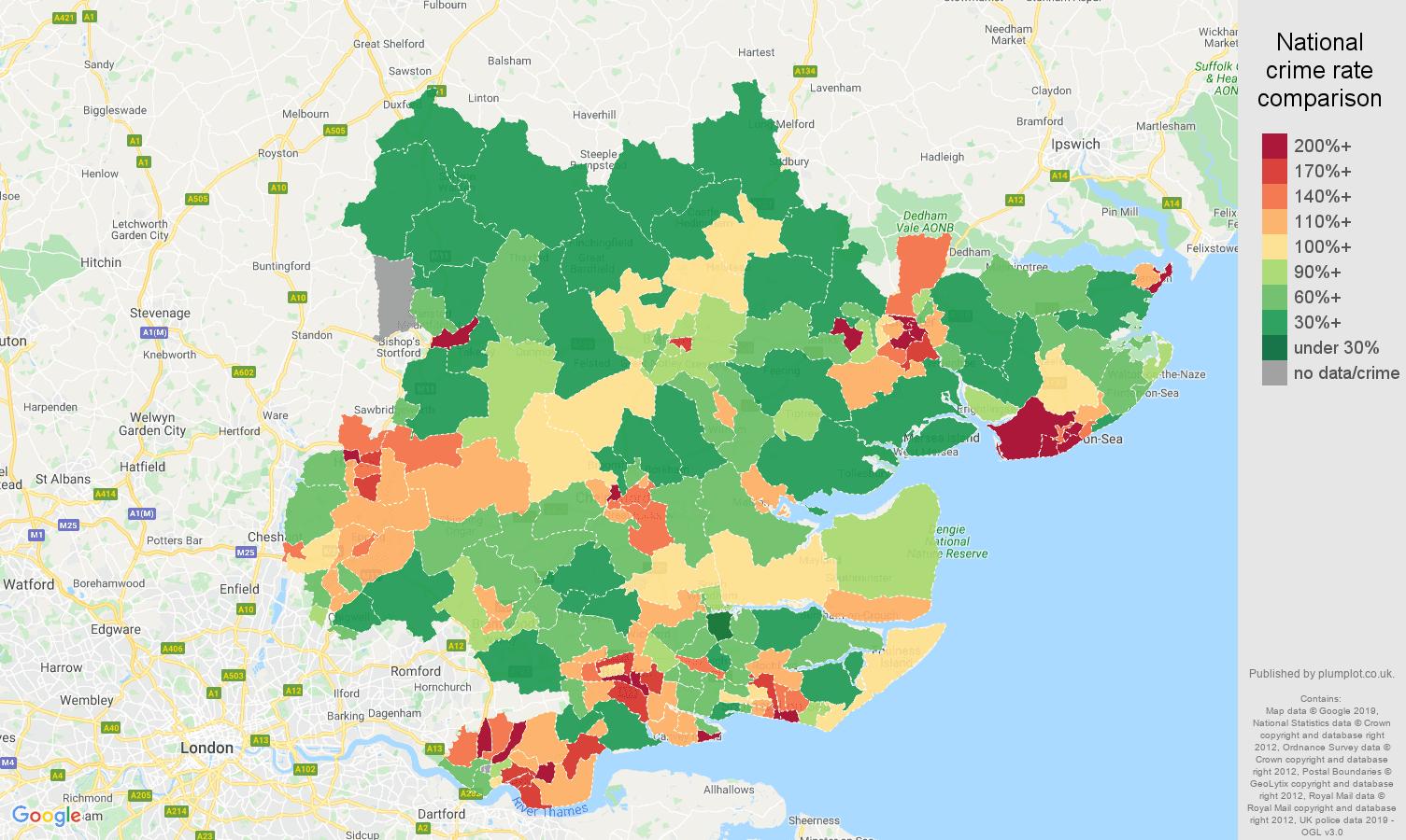 Essex public order crime rate comparison map