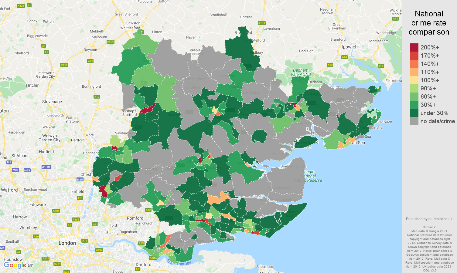 Essex theft from the person crime rate comparison map