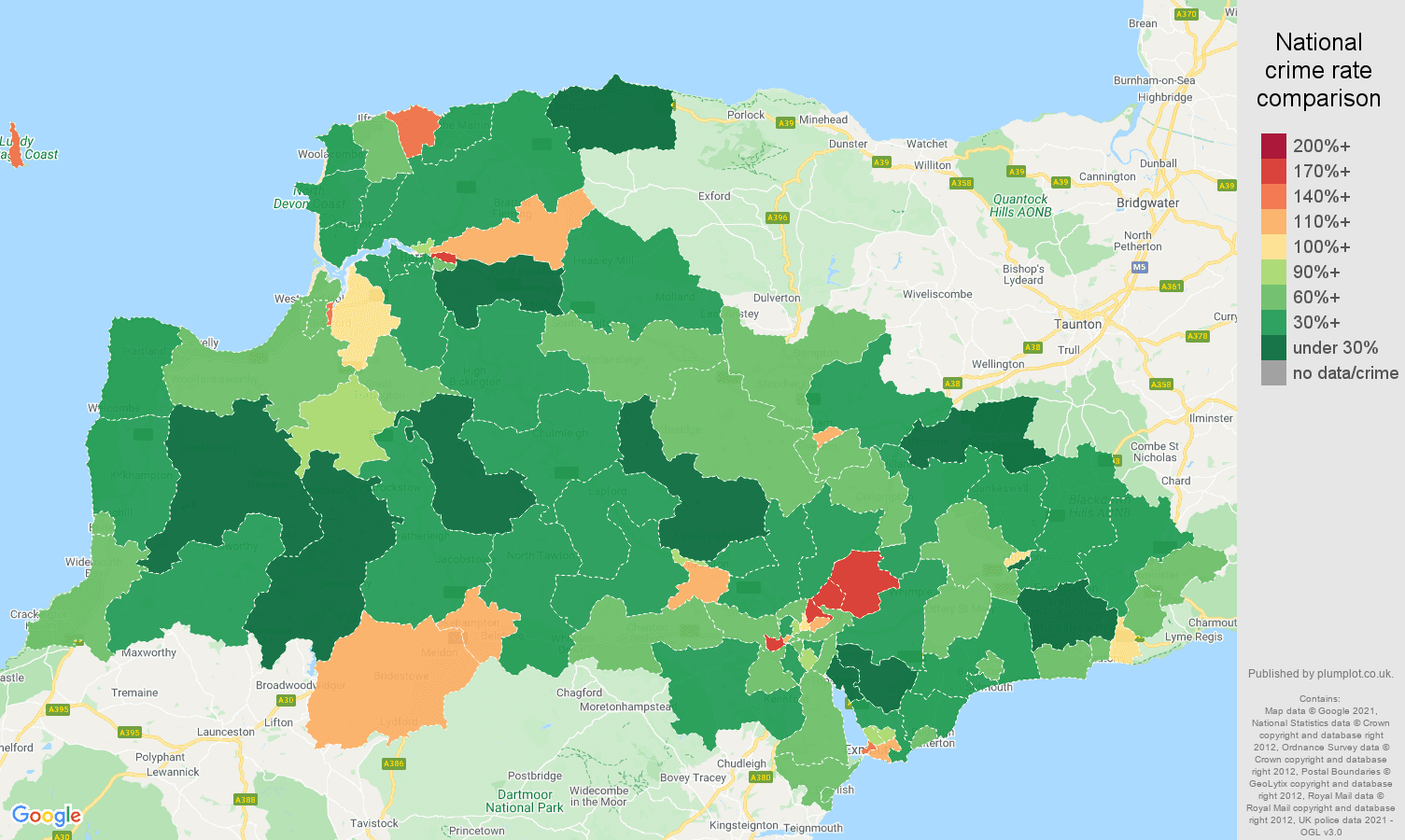 Exeter criminal damage and arson crime rate comparison map