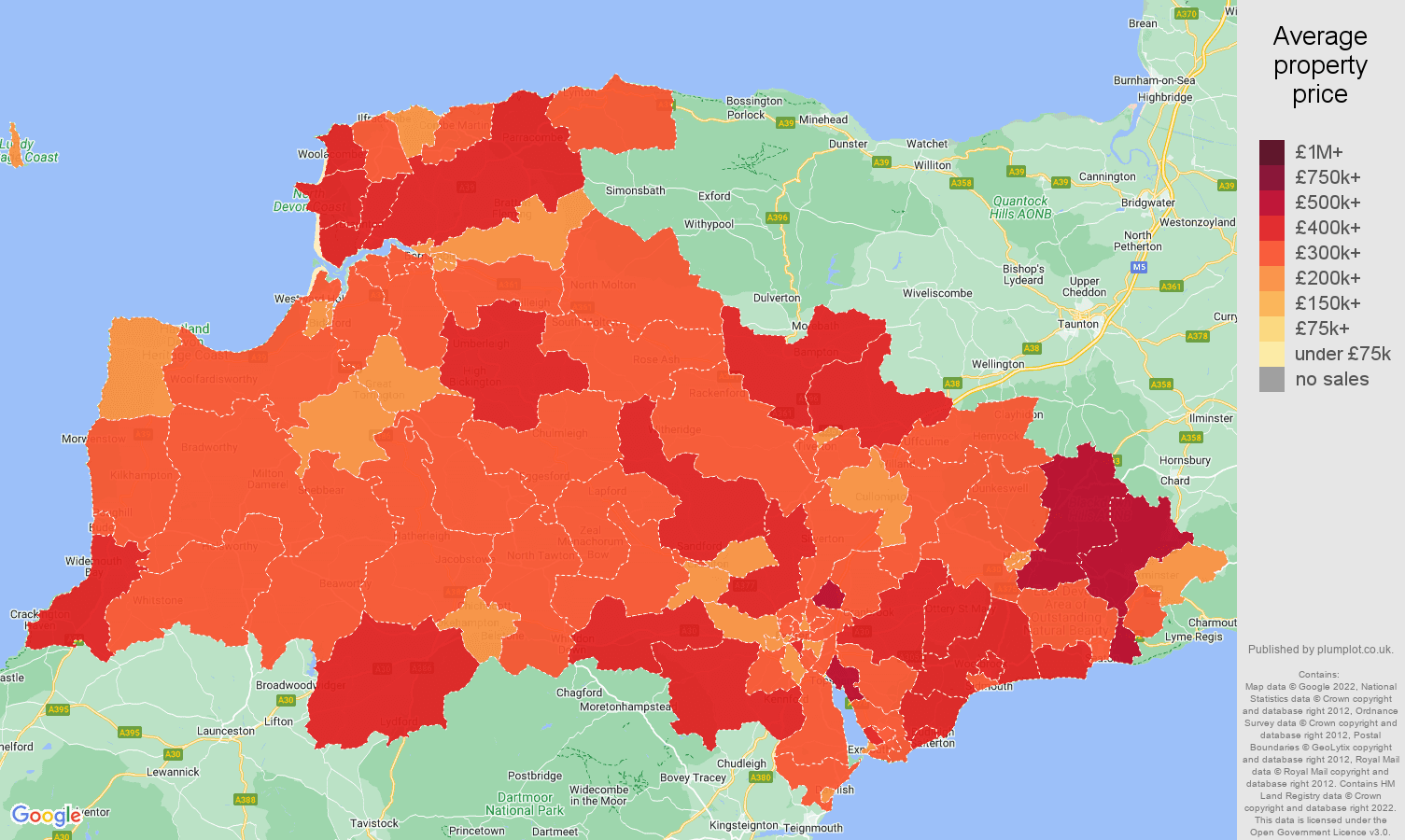 Exeter house prices map