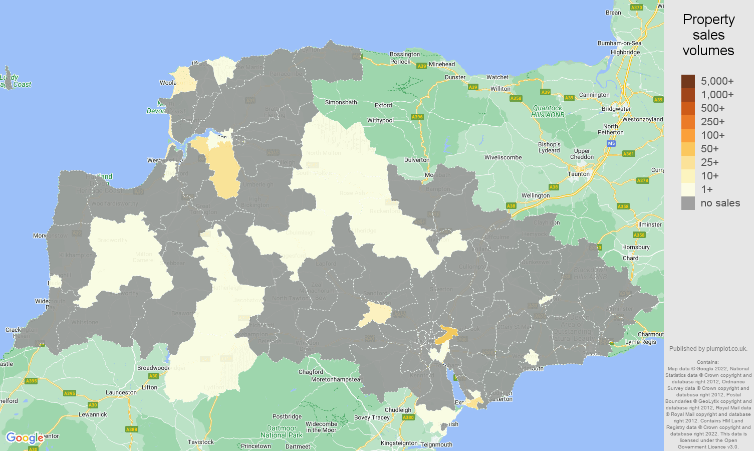 Exeter map of sales of new properties