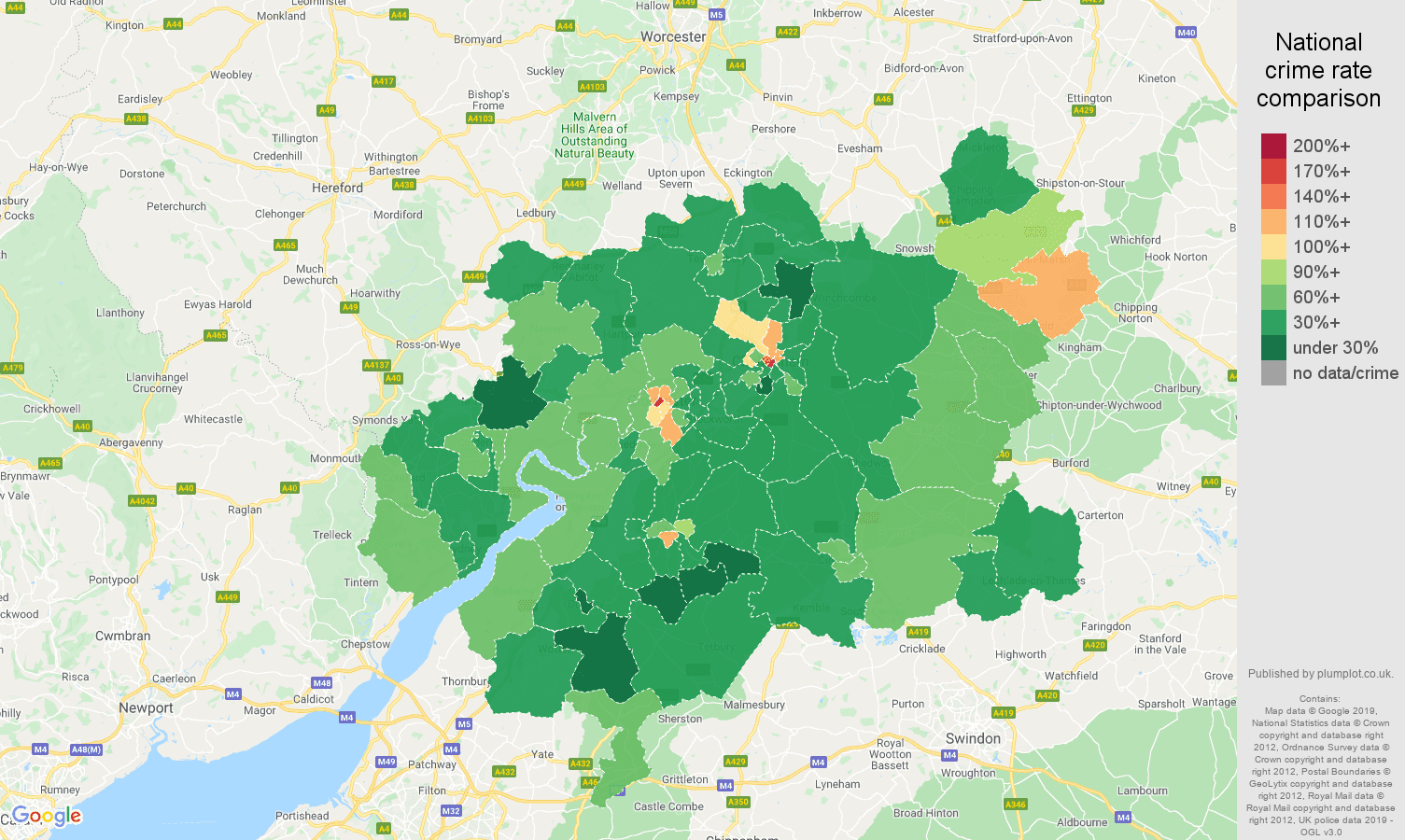 Gloucester other theft crime rate comparison map