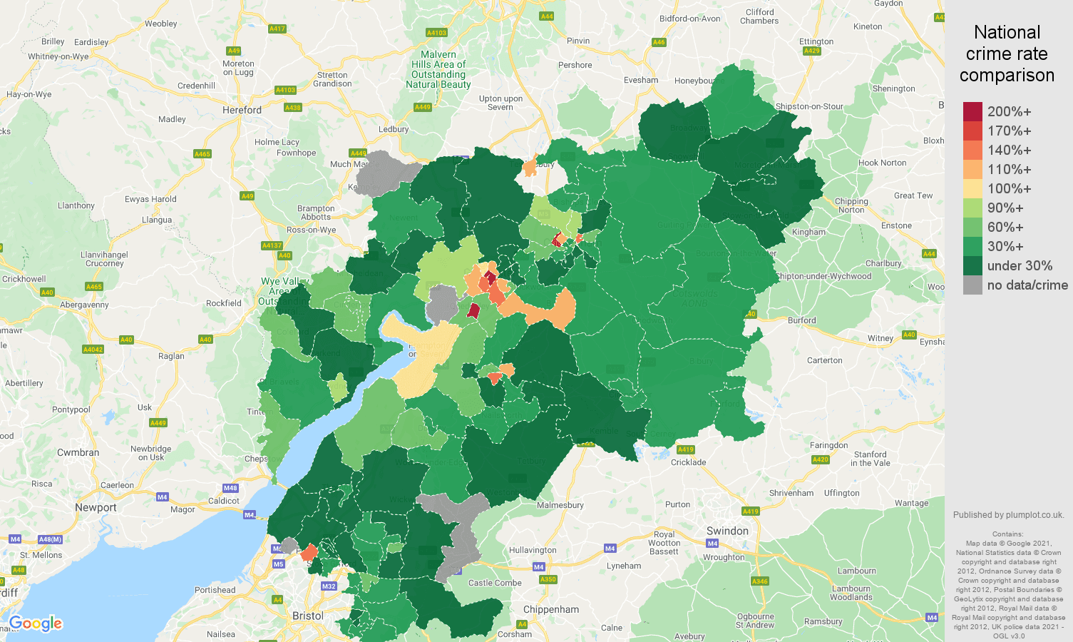Gloucestershire drugs crime rate comparison map