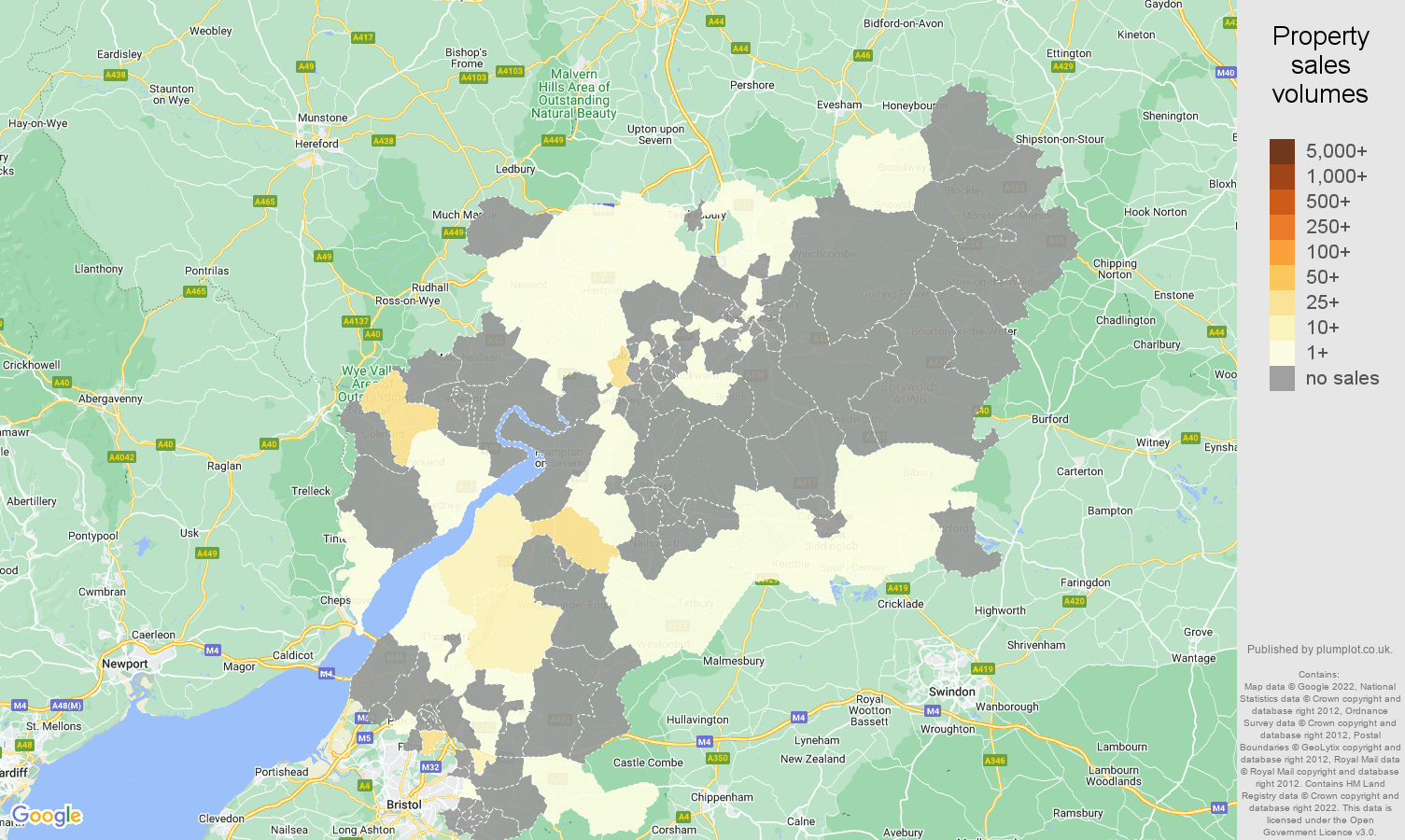 Gloucestershire map of sales of new properties