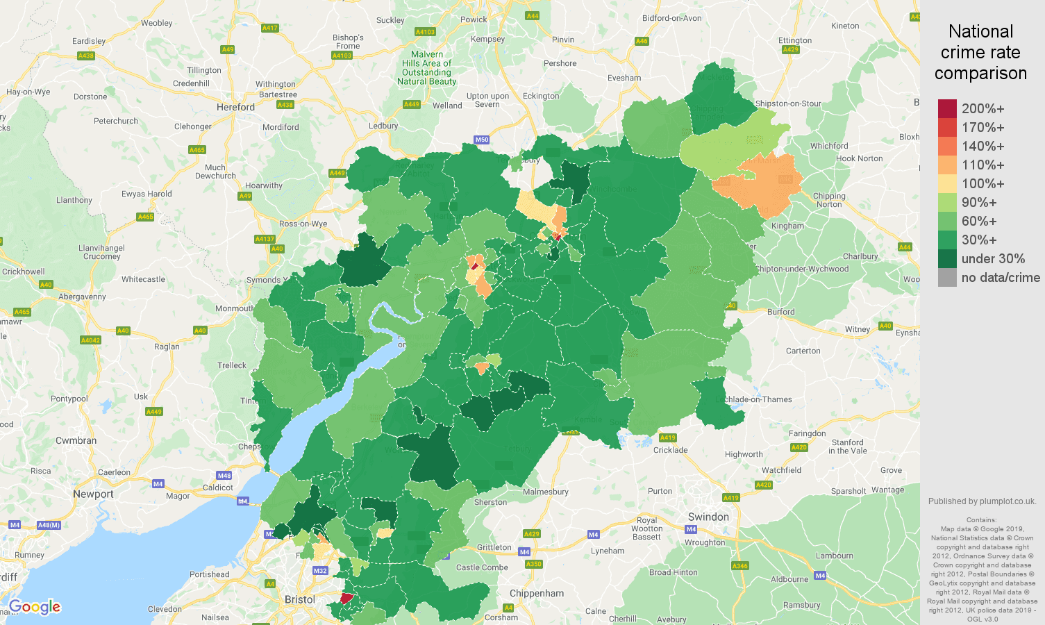 Gloucestershire other theft crime rate comparison map