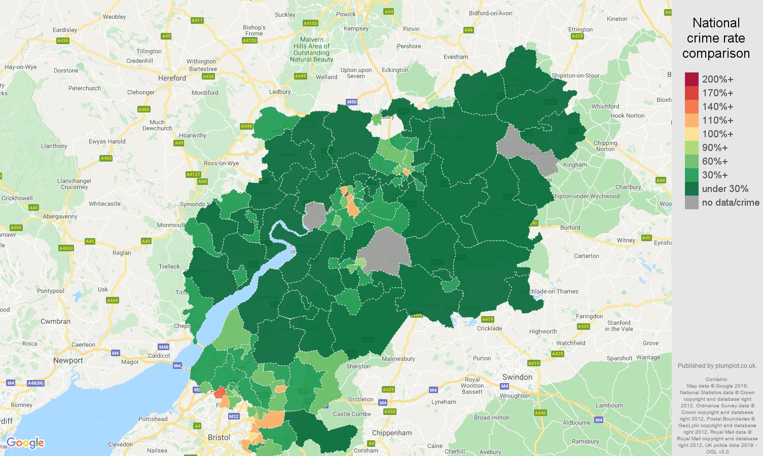 Gloucestershire public order crime rate comparison map