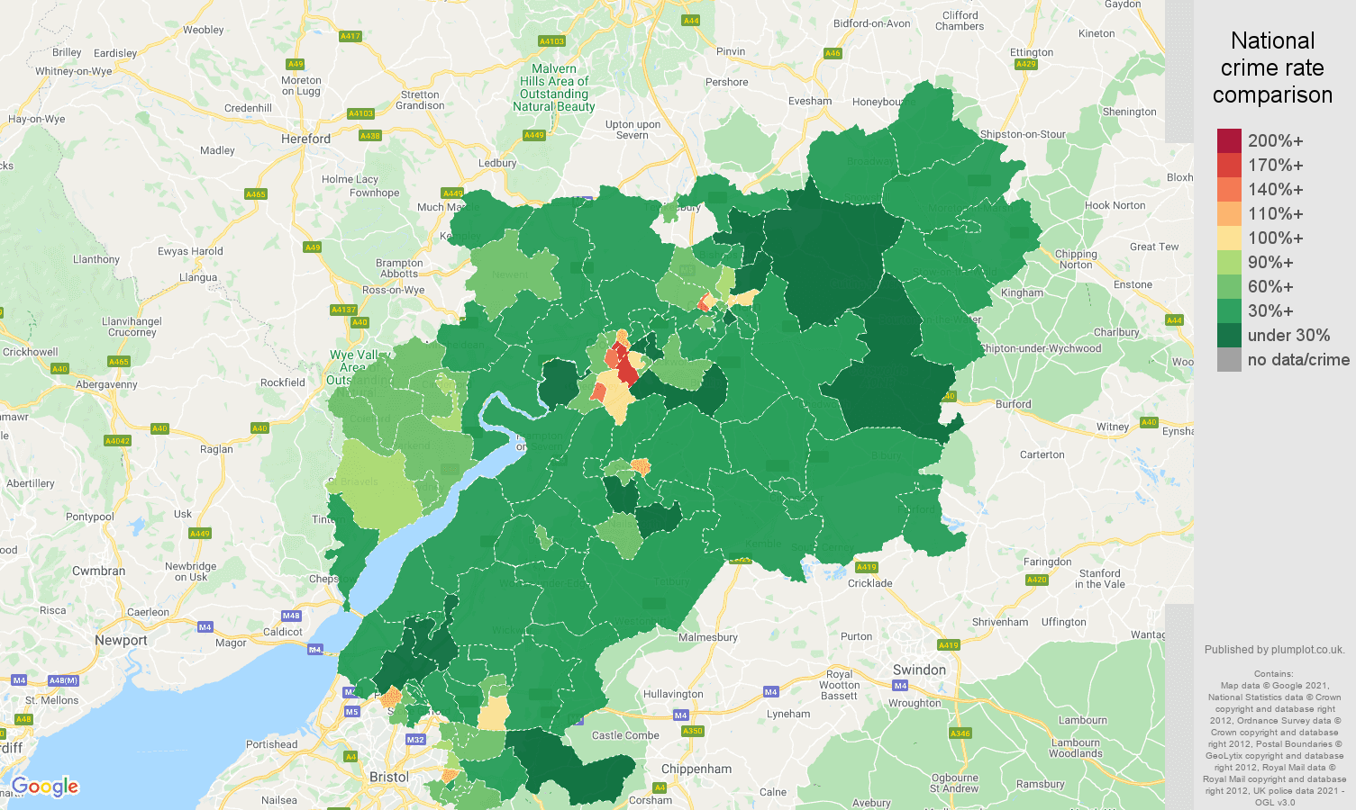 Gloucestershire violent crime rate comparison map