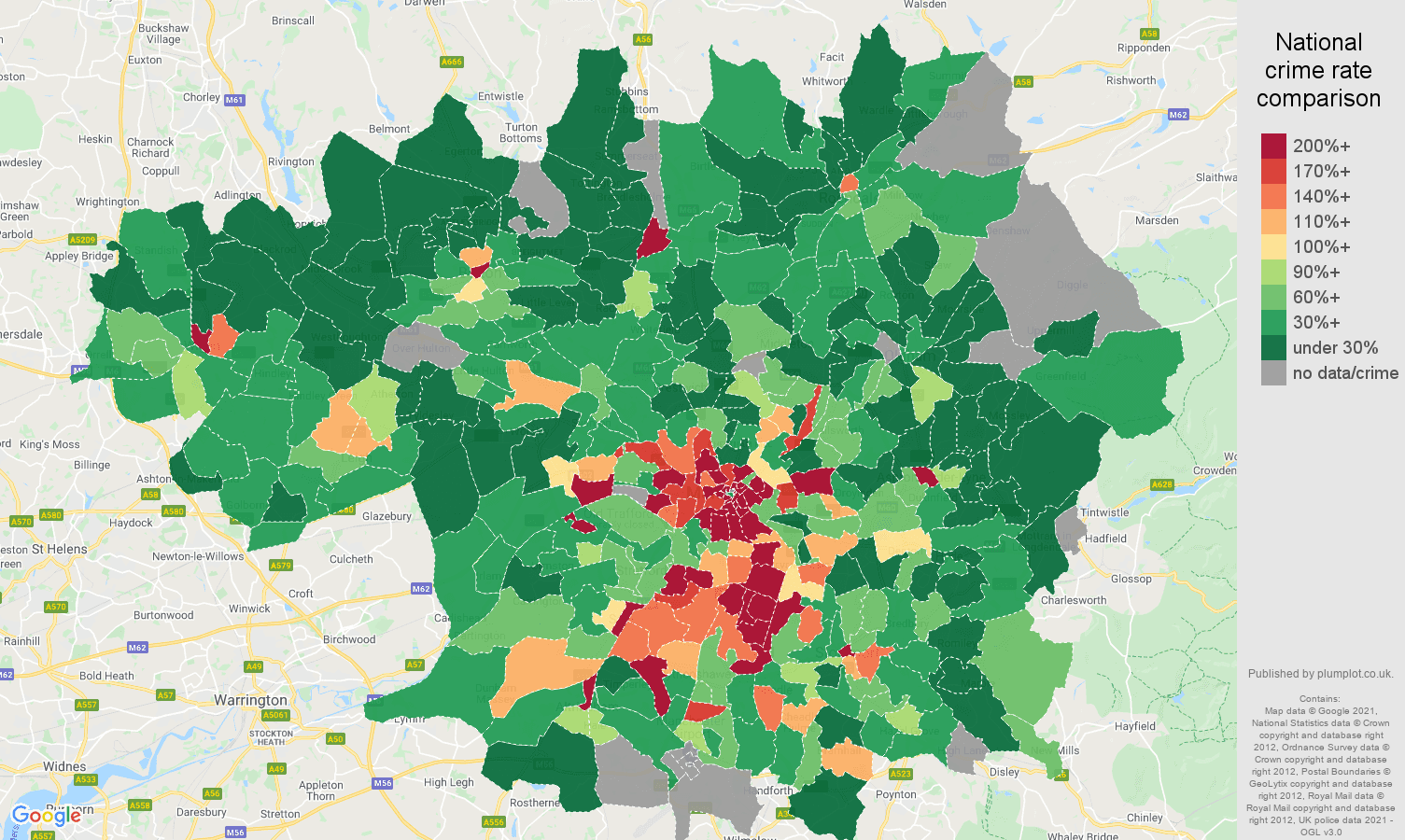Greater Manchester bicycle theft crime rate comparison map
