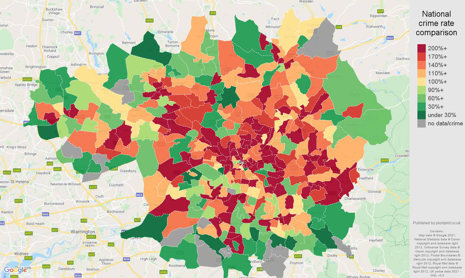 Greater Manchester possession of weapons crime rate comparison map