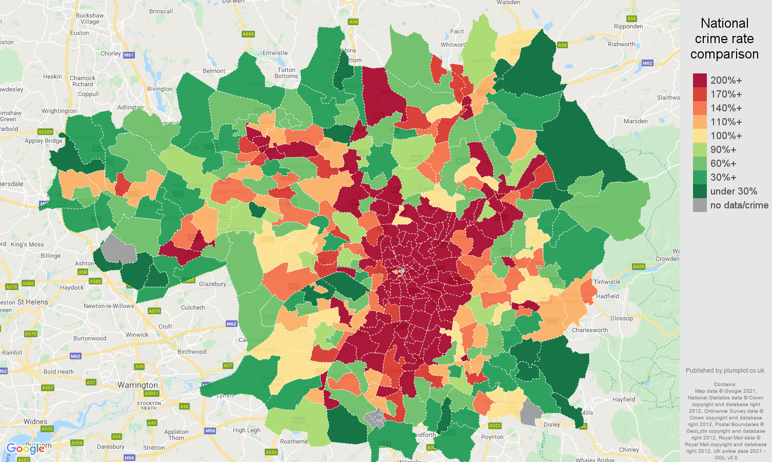 Greater Manchester robbery crime rate comparison map