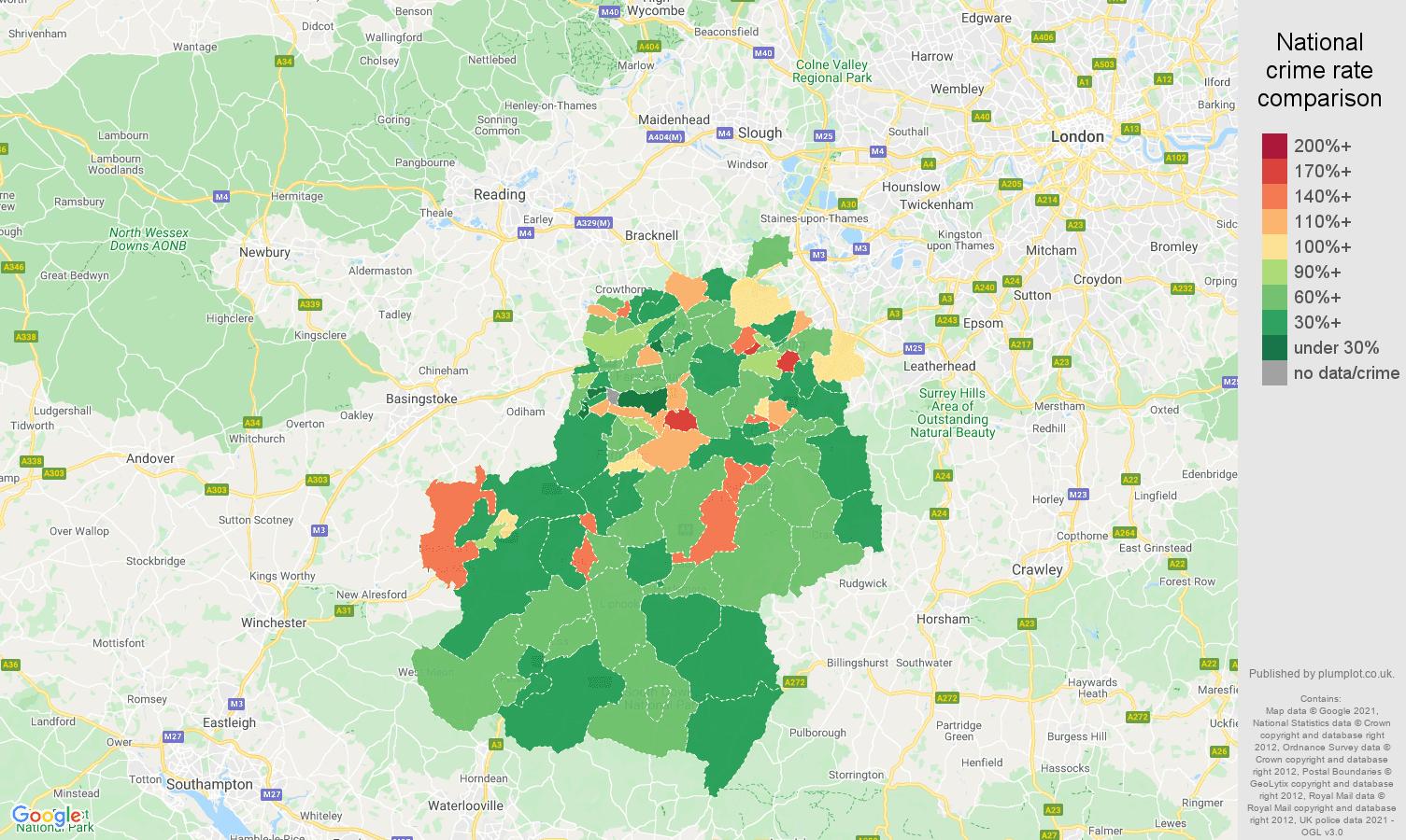 Guildford criminal damage and arson crime rate comparison map