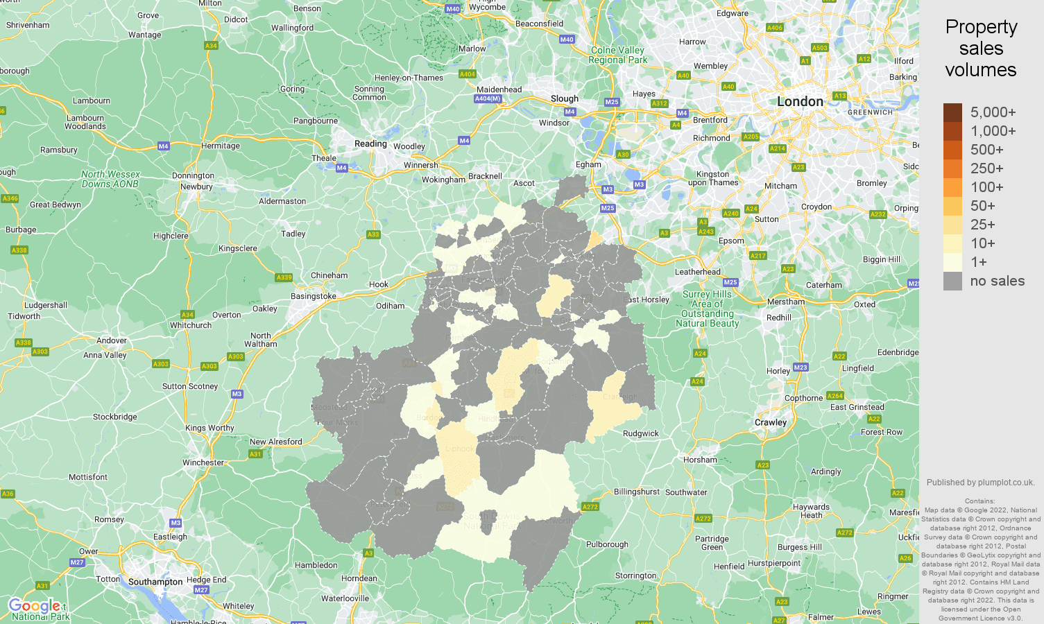 Guildford map of sales of new properties
