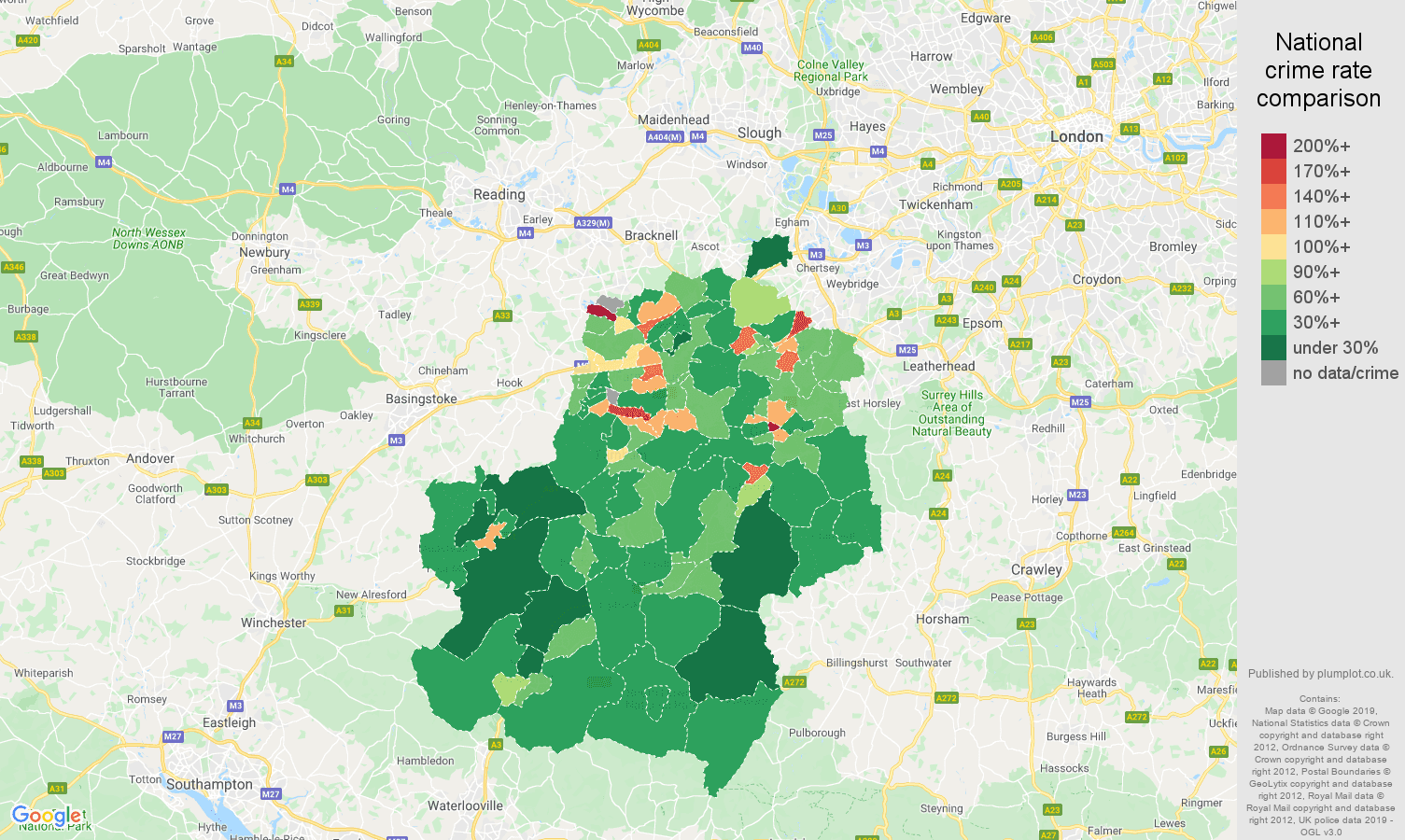 Guildford public order crime rate comparison map